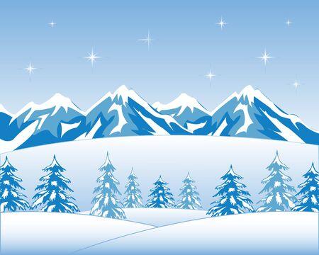 siberia: Vector illustration winter wood and mountain tops Illustration