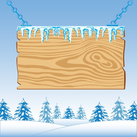 snow chain: Wooden board on chain on background wood