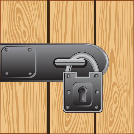 outboard: Vector illustration of the outboard lock on door from tree