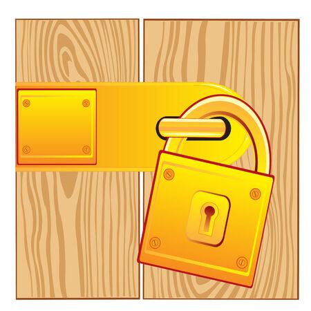 gild: Vector illustration of the lock from gild on door