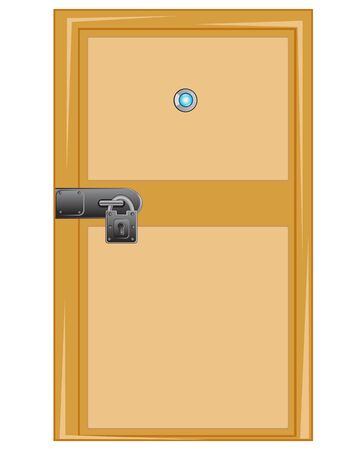 outboard: Wooden door with outboard lock on white background Illustration