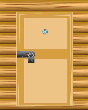 peephole: Wooden door with lock on background wall from wood