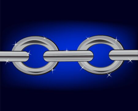 applicable: Iron chain on turn blue background is insulated
