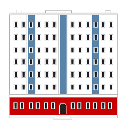 Vector illustration of the big building on white background