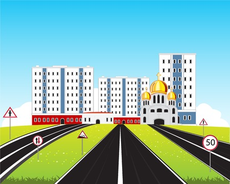 hill distant: Vector illustration of the road in big city Illustration