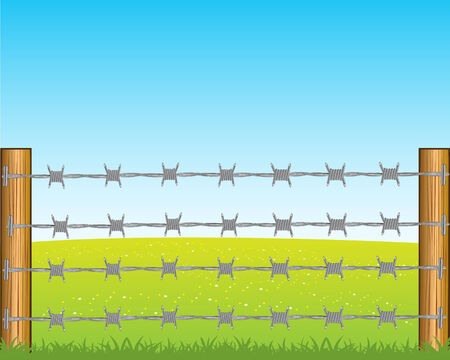 deterrent: The Year field and poles with barbed wire.Vector illustration Illustration