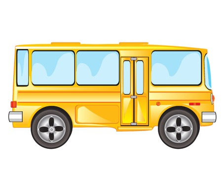 Yellow passenger bus on white background is insulated
