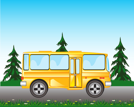 blanching: Vector illustration of the wanted bus goes on road