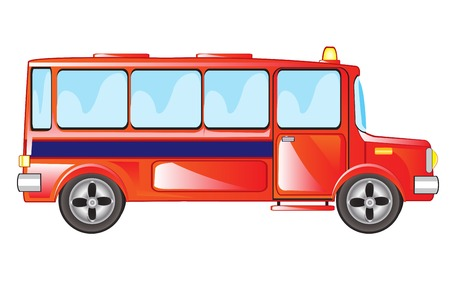 Red passenger bus on white background is insulated Illustration