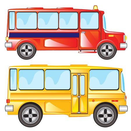 Vector illustration two buses on white background is insulated Illustration