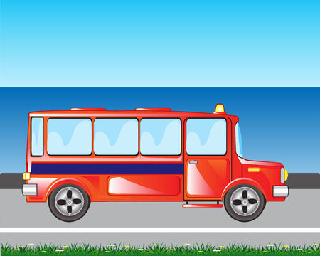 blanching: The Red bus goes beside seeshore.Vector illustration