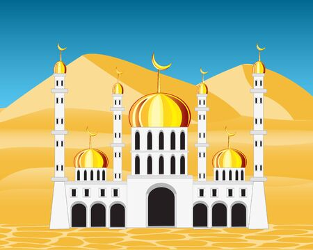natural arch: Vector illustration of the building to mosques in desert