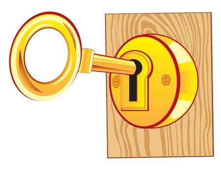 Clé d'or dans la porte de verrouillage de l'arbre
