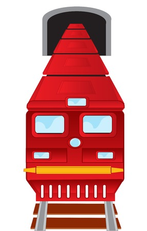 displacement: Red train drives out of subway on white background