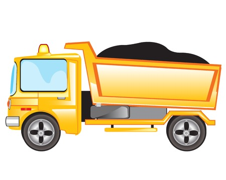 Yellow cargo car on white background is insulated Vector