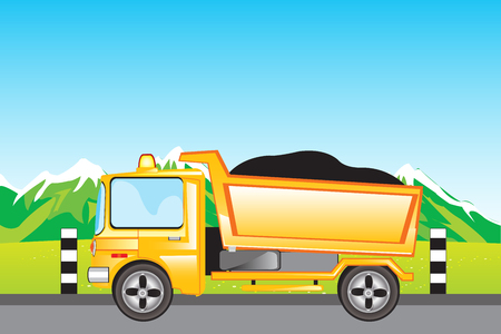 Yellow cargo car on mountain road.Vector illustration Vector
