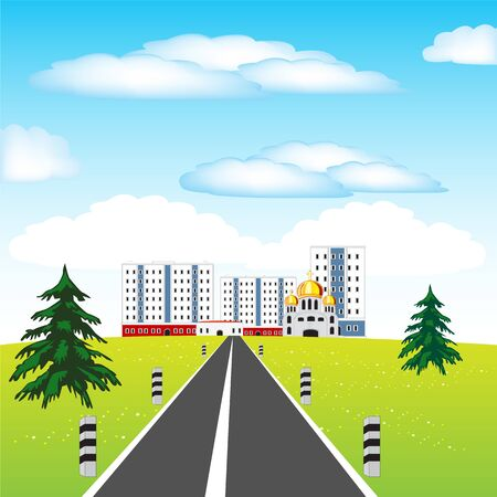 dome type: Vector illustration of the road in big city Illustration