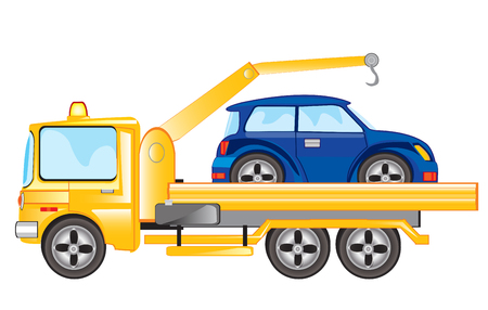 Car with tap for evacuation on white background is insulated Vector