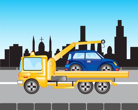 idzie: Samochód do ewakuacji idzie na ulicy miasta Ilustracja