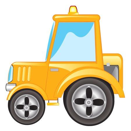 yellow tractor: Ilustraci�n vectorial tractor amarillo sobre fondo blanco