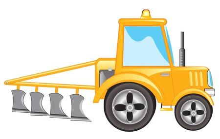 yellow tractor: Tractor amarillo con el arado en el fondo blanco est� aislado