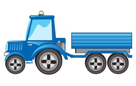 Blue tractor with pushcart on white background is insulated