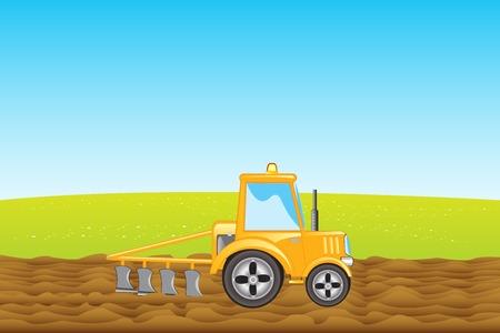 yellow tractor: Tractor amarillo con arado surca la tierra en el campo