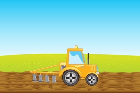 lavaliere: Yellow tractor with plow plows land in field