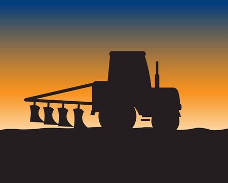 plow: Silhouette of the tractor with plow on background of the field