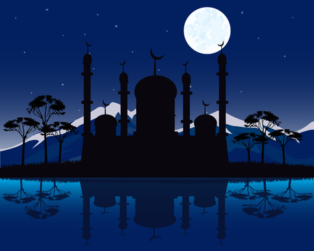 phosphorescence: Vector illustration to mosques moon in the night beside yard Illustration