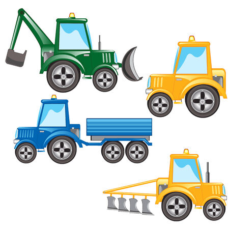lavaliere: Much tractors on white background is insulated