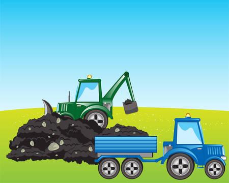carretilla de mano: Tractor con pala excavar y cargar la tierra en la carretilla de mano Vectores