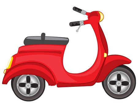 motorised: Illustration of a red scooter on a white background Illustration