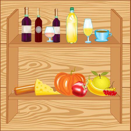 �tag�re bois: �tag�re en bois avec des produits et des boissons sur le mur Illustration
