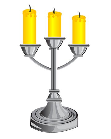 Vector illustration of the candlestick on three candles Illustration