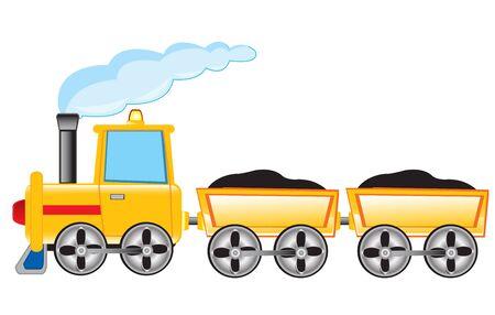 pushcart: Vector illustration of the locomotive with cargo pushcart