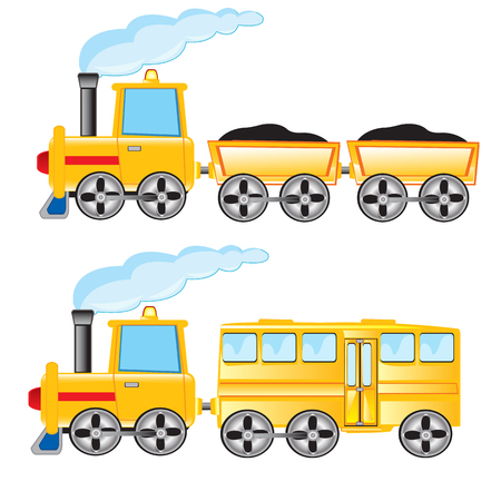 the passenger: Two locomotives cargo and passenger on white background
