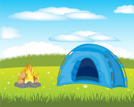 blazes: The Year rest in tent on meadow.Vector illustration Illustration
