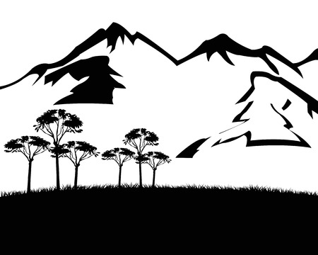 Black white landscape of the mountain tops and tree