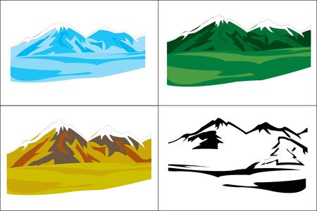 time of the year: Several landscapes with mountain in miscellaneous time year Illustration