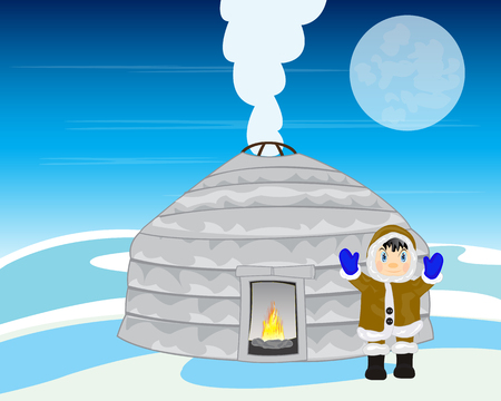 plague: Landscape with person beside plague amongst snow in the night Illustration