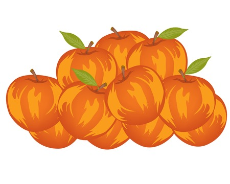 damp: Much red ripe apples on white background is insulated Illustration