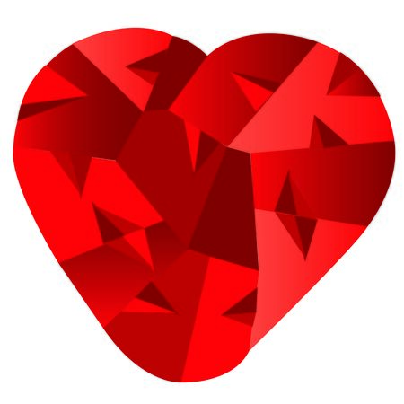The Red heart on white background is insulated.Vector illustration Illustration