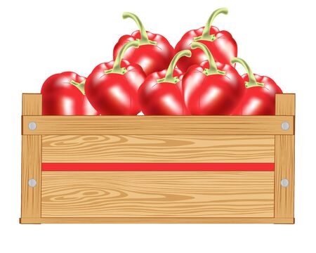 ready to eat: Red pepper in wooden box on white background