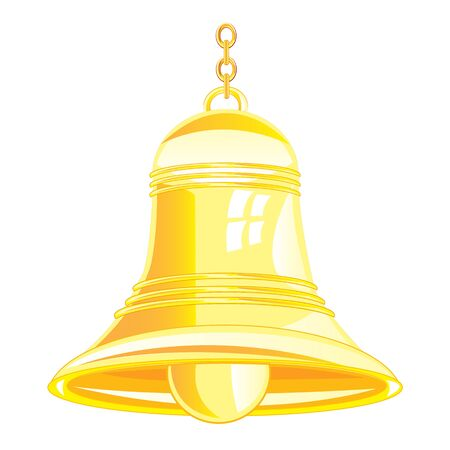 furlough: Bell from gilded metal on white background is insulated