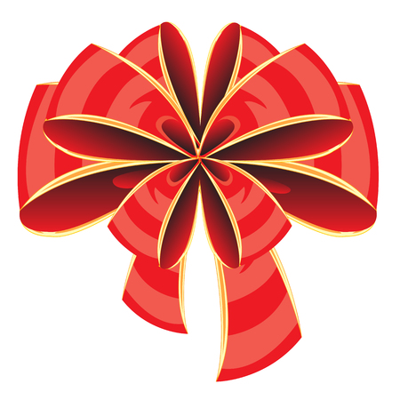 Beautiful red bow on white background is insulated Vector