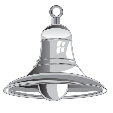 peal: Bell from metal on white background is insulated