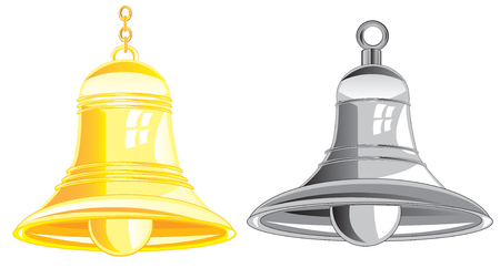 phosphorescence: Two bells from metal on white background is insulated