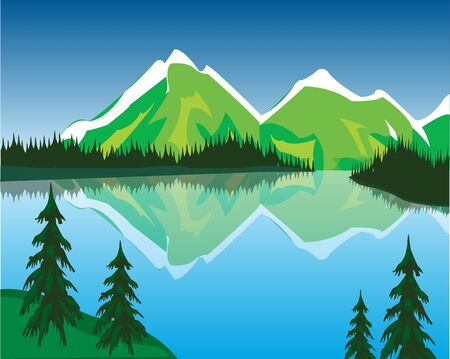 obscure: The Beautiful lake in mountain amongst wood.Vector illustration