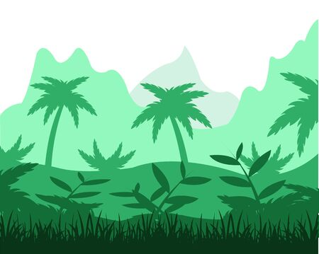 flowerses: The Beautiful landscape with tropical jungle.Vector illustration Illustration